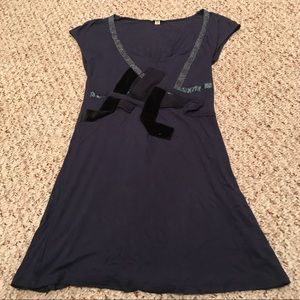 Silence & noise anthro navy long tunic top xs